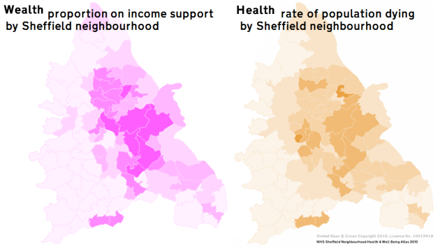 Graphs showing correlation between wealth and health in Sheffield